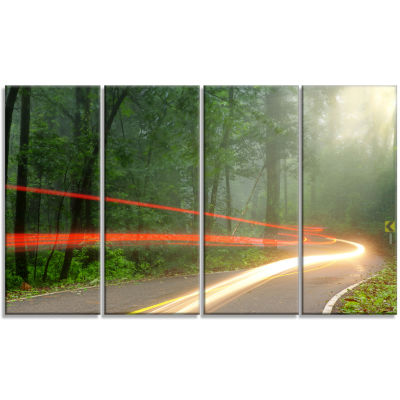 Foggy Morning With Sun Rays Landscape Photo CanvasArt Print - 4 Panels