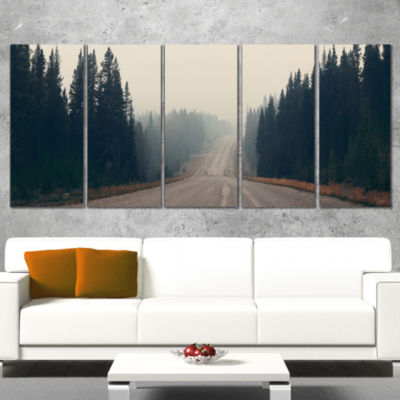 Designart Foggy Road In Forest In Banff Park Modern SeascapeCanvas Artwork - 4 Panels
