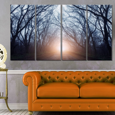 Foggy Sun In Mysterious Dark Forest Modern ForestCanvas Art - 4 Panels