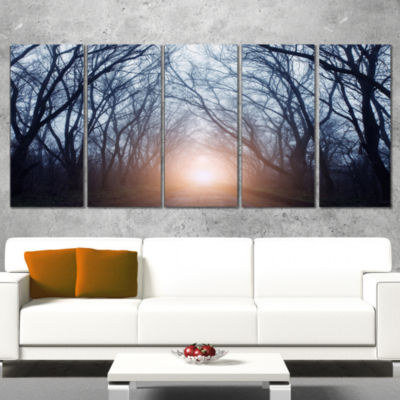 Foggy Sun In Mysterious Dark Forest Modern ForestWrapped Canvas Art - 5 Panels
