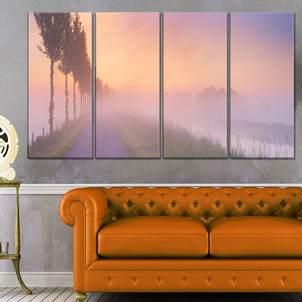 Designart Foggy Sunrise In The Netherlands Extra Large WallArt Landscape - 4 Panels