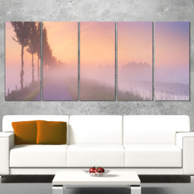 Designart Foggy Sunrise In The Netherlands Extra Large Wrapped Wall Art Landscape - 5 Panels