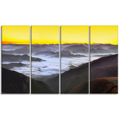 Designart Foggy Sunrise Over Mountains Landscape Canvas ArtPrint - 4 Panels