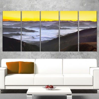 Designart Foggy Sunrise Over Mountains Landscape Canvas ArtPrint - 5 Panels