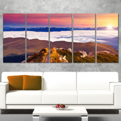 Foggy Val Gardena Valley Panorama Extra Large Seashore Wrapped Canvas Art - 5 Panels