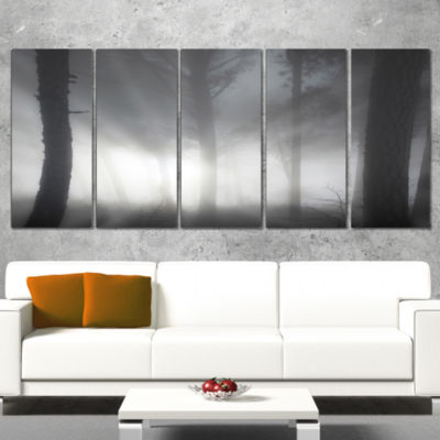 Forest In Heavy Autumn Mist Landscape Photo CanvasArt Print - 5 Panels