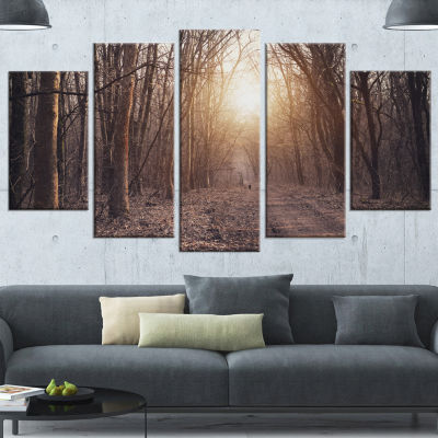 Designart Forest Pathway View At Sunset Modern Forest Wrapped Canvas Art - 5 Panels