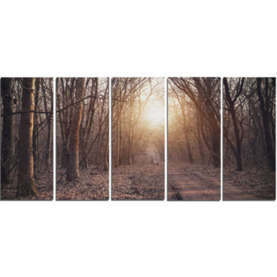 Forest Pathway View At Sunset Modern Forest CanvasArt - 5 Panels