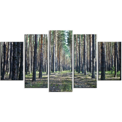 Designart Forest Road In Thick Woods Modern ForestWrapped Canvas Art - 5 Panels