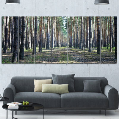 Forest Road In Thick Woods Modern Forest Canvas Art - 5 Panels
