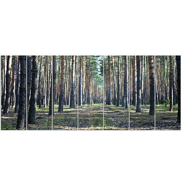 Designart Forest Road In Thick Woods Modern ForestCanvas Art 7 Panels