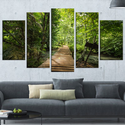 Designart Forest Way To Emerald Pool Landscape Photo CanvasArt Print - 4 Panels