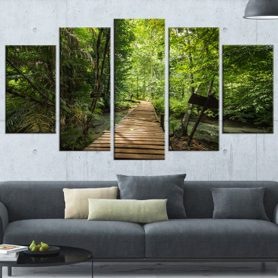 Forest Way To Emerald Pool Landscape Photo CanvasArt Print - 5 Panels