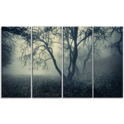 Forest With Green Fog In Morning Landscape Photography Canvas Print - 4 Panels