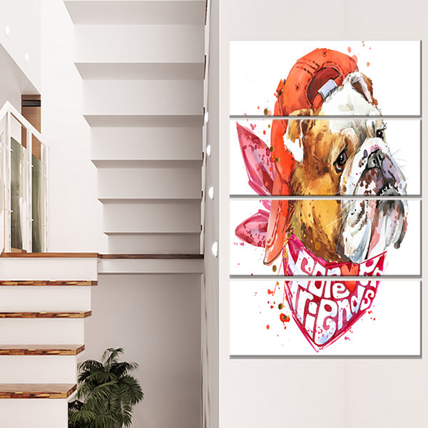 Forever Friends Funny Dog Animal Canvas Wall Art -4 Panels
