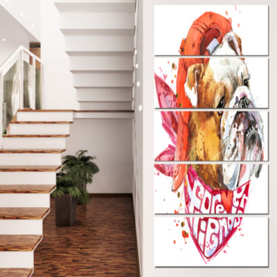 Designart Forever Friends Funny Dog Animal CanvasWall Art -5 Panels