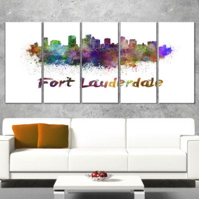 Designart Fort Lauderdale Skyline Cityscape CanvasArtwork Print - 4 Panels