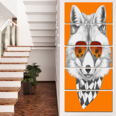 Designart Fox With Mirror And Sunglasses Contemporary AnimalArt Canvas - 4 Panels