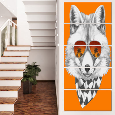 Designart Fox With Mirror And Sunglasses Contemporary AnimalArt Canvas - 5 Panels