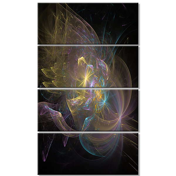 Designart Fractal Background Bright Glare Large Abstract Canvas Wall Art - 4 Panels
