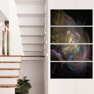Fractal Background Bright Glare Large Abstract Canvas Wall Art - 4 Panels