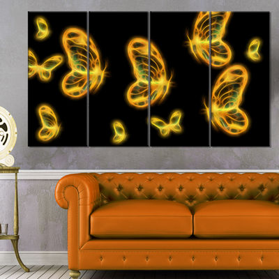 Designart Fractal Butterflies On Dark Background Floral Canvas Art Print - 4 Panels