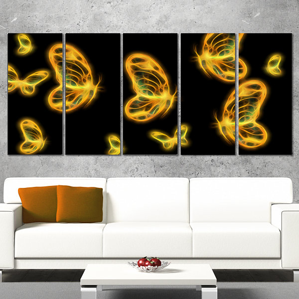 Designart Fractal Butterflies On Dark Background Floral Canvas Art Print - 5 Panels