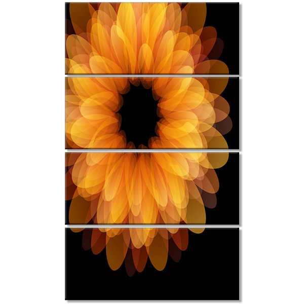Designart Fractal Flower Petals On Black Floral Canvas Art Print - 4 Panels