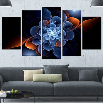 Fractal Flower With Orange Flame Floral Wrapped Canvas Art Print - 5 Panels