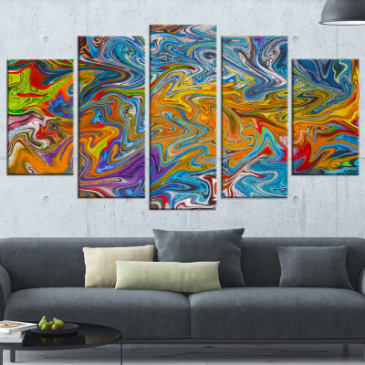 Designart Fractal Flowing Colors Abstract Canvas Art Print -5 Panels