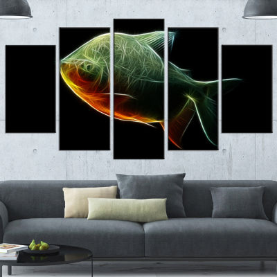 Fractal Pacu Fish On Black Large Animal Wrapped Canvas Artwork - 5 Panels