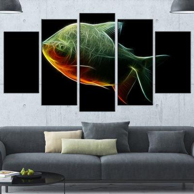 Designart Fractal Pacu Fish On Black Large AnimalCanvas Artwork - 5 Panels