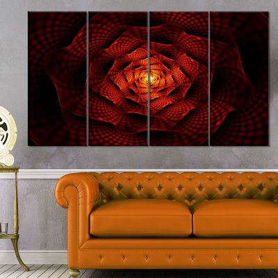 Fractal Red Flower Of Love Flower Artwork On Canvas - 4 Panels