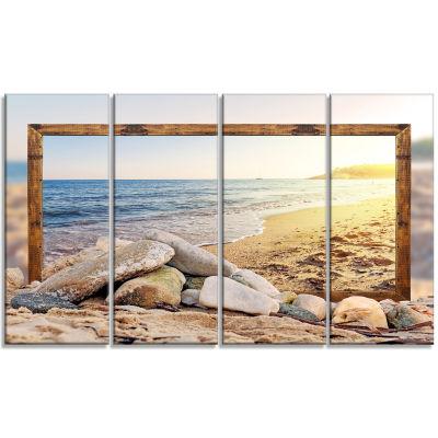 Designart Framed Effect Beach Rocks Seashore Canvas Art Print - 4 Panels