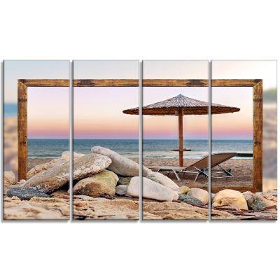 Designart Framed Effect Beach Seating Seashore Canvas Art Print - 4 Panels