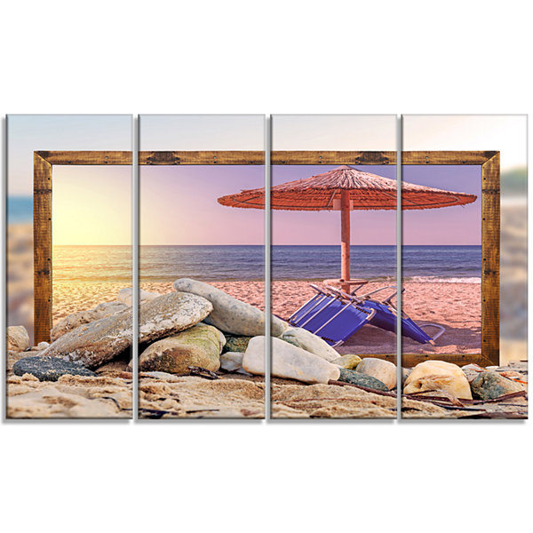 Designart Framed Effect Beach Sunset Seashore Canvas Art Print - 4 Panels