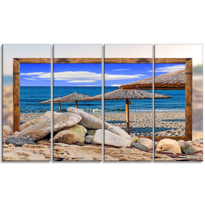Framed Effect Beach Umbrellas Seashore Canvas ArtPrint - 4 Panels