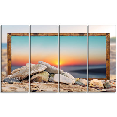 Designart Framed Effect Blurred Beach Seashore Canvas Art Print - 4 Panels