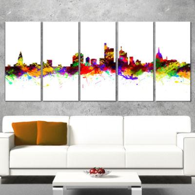 Frankfurt Germany Skyline Cityscape Canvas Art Print - 4 Panels