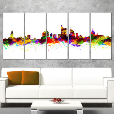 Frankfurt Germany Skyline Cityscape Canvas Art Print - 5 Panels