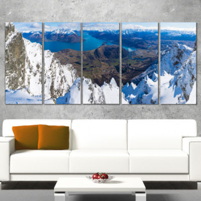 Designart Frankton And Lake Aerial View Panorama Landscape Canvas Art Print - 5 Panels