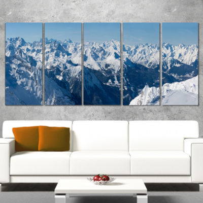 French Alps Panorama Photography Wrapped Canvas Art Print - 5 Panels