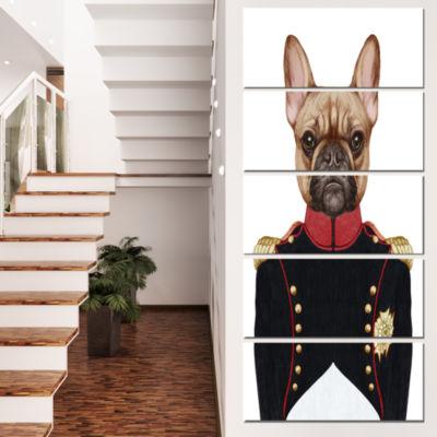 Designart French Bulldog In Military Uniform Animal Canvas Art Print - 5 Panels