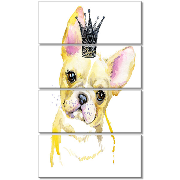 Designart French Bulldog With Black Crown Contemporary Animal Art Canvas - 4 Panels