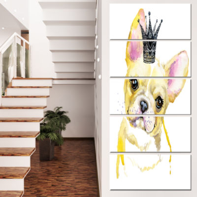 Designart French Bulldog With Black Crown Contemporary Animal Art Canvas - 5 Panels