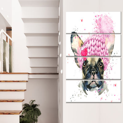 French Bulldog With Pink Hat Contemporary Animal Art Canvas - 4 Panels