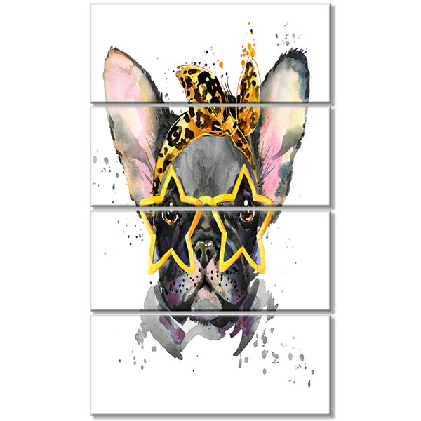 Designart French Bulldog With Star Glasses AnimalCanvas Wall Art - 4 Panels