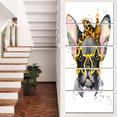 French Bulldog With Star Glasses Animal Canvas Wall Art - 5 Panels