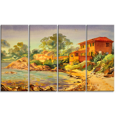 French Riviera Landscape Art Print Canvas - 4 Panels