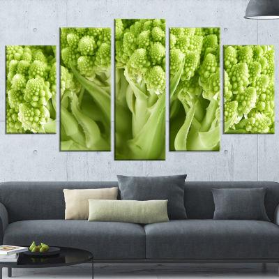 Designart Fresh Green Romanesco Florets Floral Canvas Art Print - 4 Panels